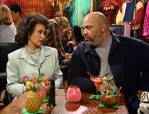 Viv (Daphne Maxwell Reid) and Phil are set up for reunion in a Hawaiian-themed karaoke restaurant.