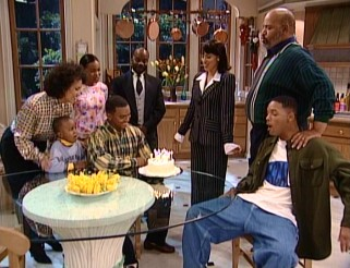 Will, Geoffrey, and the Banks family gather around for a celebration of Carlton's 21st birthday.