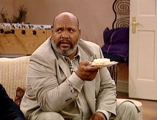 Judge Philip Banks (James Avery) is not pleased to be served a rice cake sandwich per his wife's new nutrition kick.