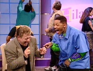 "Still high on a dentist's laughing gas, William Shatner and Will Smith clown around hilariously on the set of the talk show ""Hilary."""