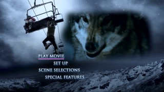 While the iconic key art of the poster and cover sways, a wolf looks hungry on the DVD's main menu.