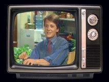 "A young Michael J. Fox is seen (in a TV inside your TV) in vintage cast interview footage from ""The Making of 'Family Ties'."""