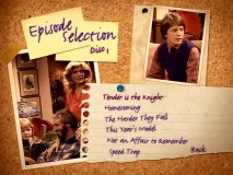 The Episode Selection menus maintain the theme of thumbtacked mementos and a bit of loose leaf.