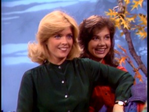 Elyse and Mallory model by fall foliage together in an early Season 2 episode.