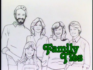 "An unknown artist paints the Keatons in the opening title sequence of ""Family Ties."" Watch out, Mrs. Keaton, your shoulder will get bloody any second now."