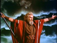 "Charlton Heston parts the Red Sea as Moses in the studio highlight featurette ""Paramount in the '50s."""