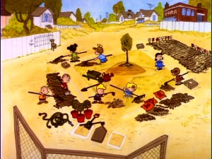 "If you plant it, they will grow. Eight members of the Peanuts gang turn Charlie Brown's baseball diamond into a field of greens in ""It's Arbor Day, Charlie Brown."""
