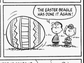 "This Easter 1977 strip is one of the many Peanuts comics we get a look at in the featurette ""In Full Bloom: Peanuts at Easter."""