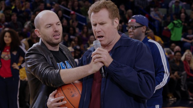 A drunken Brad Whitaker (Will Ferrell) spills his thoughts and prepares to take a half-court shot at halftime of the Pelicans-Lakers game.