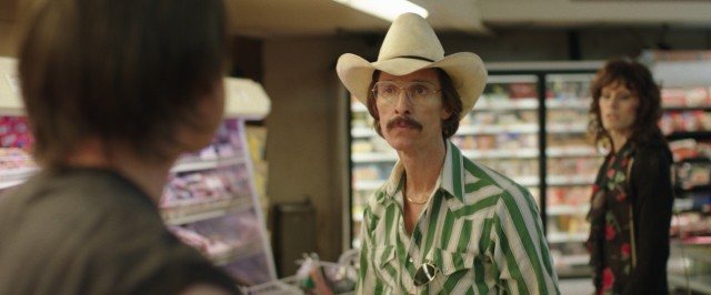 In a supermarket, Ron Woodroof (Matthew McConaughey) stands up to a former friend's homophobic attitude resembling his own past unenlightened mindset.