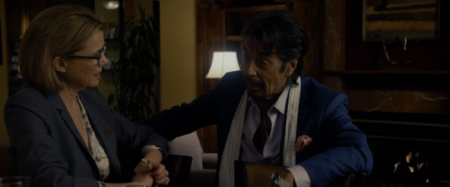 Danny Collins (Al Pacino) pursues a dinner date with Woodcliff Lake Hilton manager Mary Sinclair (Annette Bening) for much of the movie.
