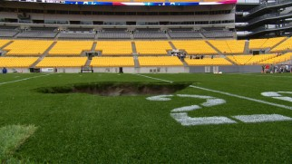 "Pittsburgh's Heinz Field is subjected to ""Gameday Destruction."""