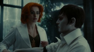 Alcoholic shrink Dr. Hoffman (Helena Bonham Carter) tries to rid Barnabas (Johnny Depp) of his immortality by replacing his vampire blood.