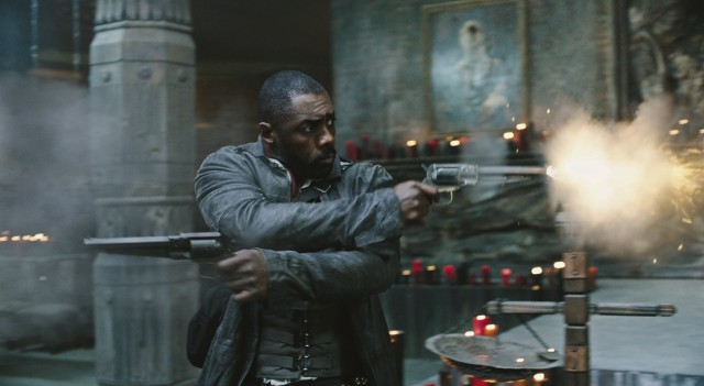 "The Gunslinger (Idris Elba) fires rounds in two different directions in ""The Dark Tower."""