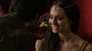 Da Vinci is one of three men who get to bed the duplicitous Lucrezia Donati (Laura Haddock).
