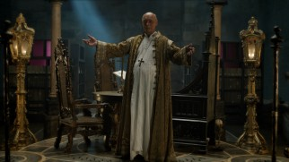 "Pope Sixtus IV (James Faulkner) welcomes Leonardo to his secret archive in ""The Hierophant."""