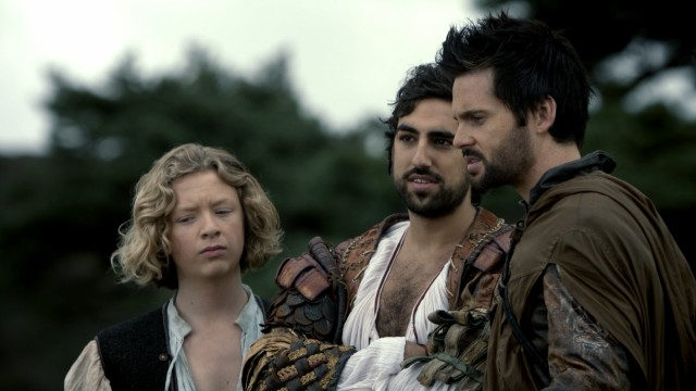 Sidekicks Nico (Eros Vlahos) and Zoroaster (Greg Chillin) want in on Da Vinci's (Tom Riley) quest for the Book of Leaves.