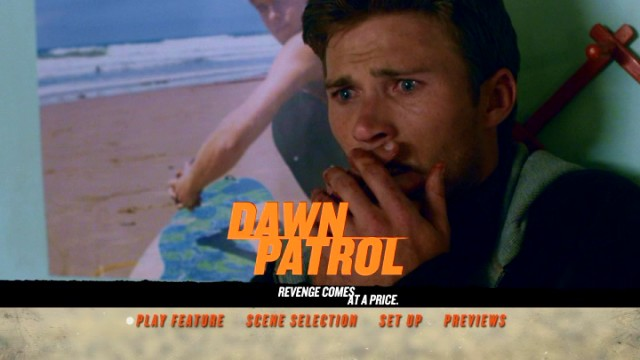 "Scott Eastwood shows off his ""What have I done?!"" face on the Dawn Patrol DVD main menu."