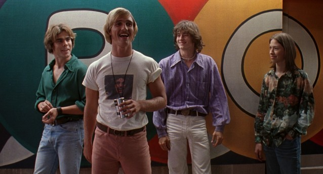 In his film debut, Matthew McConaughey (playing pink-panted graduate David Wooderson) explains, to others' amusement, what he loves about high school girls: he gets older, but they stay the same age.