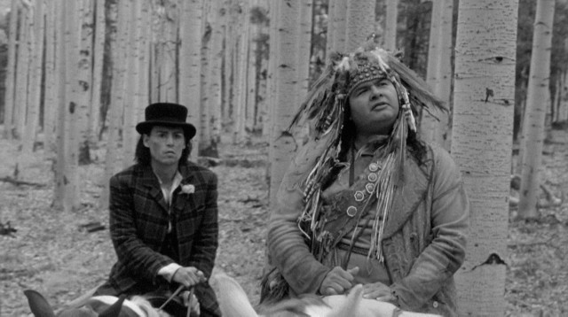 "Large Native American Nobody (Gary Farmer) never stops dispatching unclear wisdom to the outlaw William Blake (Johnny Depp) in ""Dead Man."""