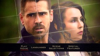 The DVD's main menu's decision to chop this image of Colin Farrell and Noomi Rapace actually relates to the movie's content in a way.