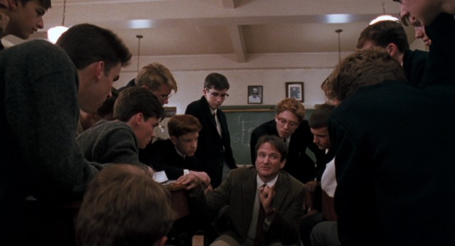 "Robin Williams opens young minds in ""Dead Poets Society"" as Welton Academy English professor John Keating."