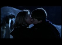 Knox (Josh Charles) gets a kiss from Chris (Alexandra Powers) in this raw take of a deleted scene set by a frozen waterfall.