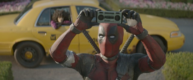 "Deadpool (Ryan Reynolds) tries to lure Colossus back into the mix with a boombox-fashioned cell phone playing Peter Gabriel's ""In Your Eyes."""