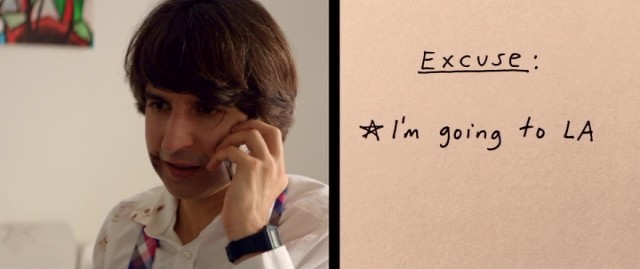 Dean (Demetri Martin) spontaneously comes up with an excuse for not visiting his father, with help from a doodle with which he shares the screen.