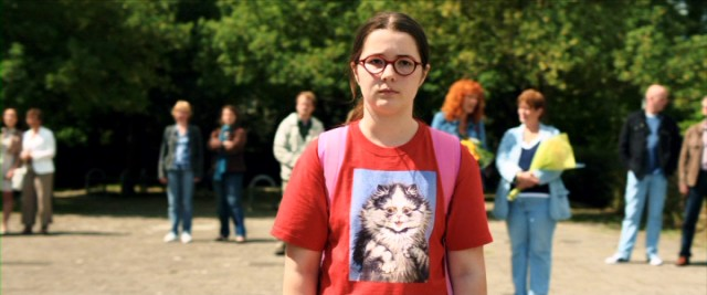 "In a cat sweatshirt, Evan van End (Vivian Dierickx) alone awaits the arrival of her family's German exchange student in the Dutch comedy ""The Deflowering of Eva van End."""