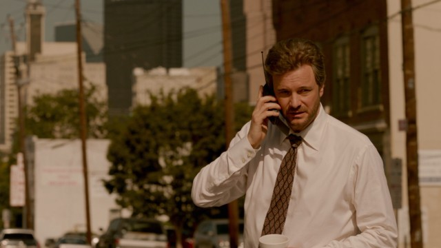 As a highfalutin private eye of the '90s, Ron Lax (Colin Firth) most definitely has need for a cellular phone.