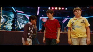 Though Robert Capron (Rowley) holds it together, Karan Brar (Chirag) and Zachary Gordon (Greg) crack up in the gag reel.