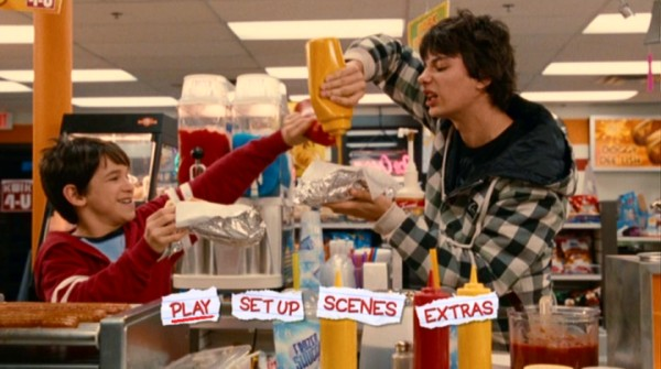 Greg (Zachary Gordon) and Rodrick (Devon Bostick) bond over convenience store hot dog condiments on the DVD's main menu.
