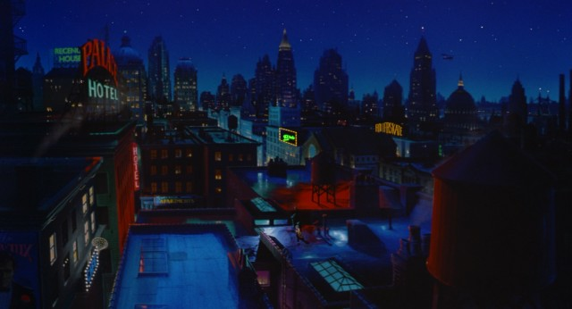 Dick Tracy's city is brought to life with liberal use of matte paintings.