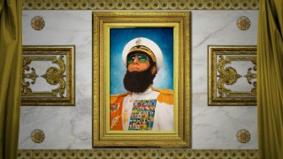 The Dictator's proud official portrait is the menu backdrop on DVD and Blu-ray.