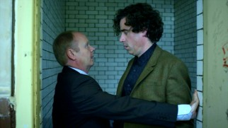Clashes with DI Gilks (Jason Watkins) are a regular occurrence for Dirk Gently (Stephen Mangan).