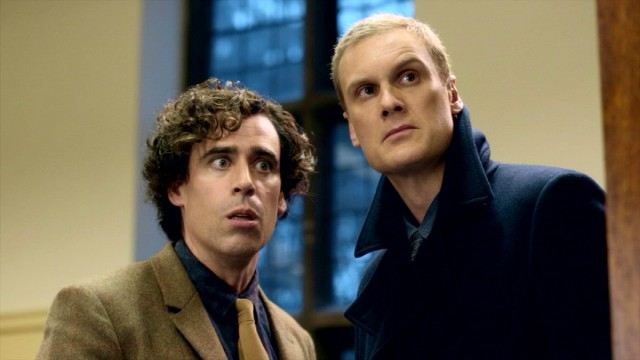 Though the exact nature of the working relationship is in question, Dirk Gently (Stephen Mangan) and Richard MacDuff (Darren Boyd) are certainly a team of holistic crime-solvers.