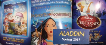 These advertisements for the upcoming Disney Blu-ray combo packs of The Rescuers, Pocahontas, The Aristocats, and Aladdin are featured inside Lady and the Tramp: Diamond Edition.