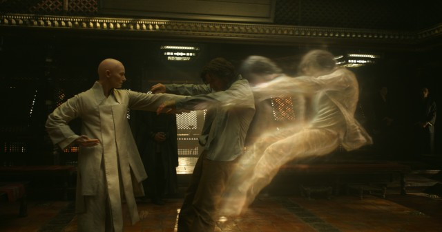 The Ancient One (Tilda Swinton) opens the mind of Doctor Strange (Benedict Cumberbatch) by treating him to this out-of-body experience.