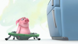 "In the animated short ""Ormie and the Cookie Jar"", this little piggy really wants what's on top of the fridge."