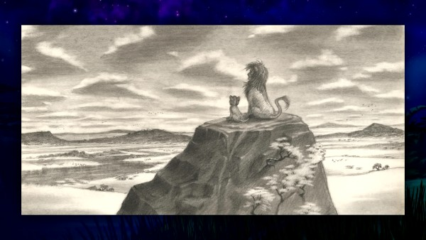 A father-son Mufasa-Simba moment is depicted in this piece of concept art from The Lion King's Diamond Edition Blu-ray gallery.
