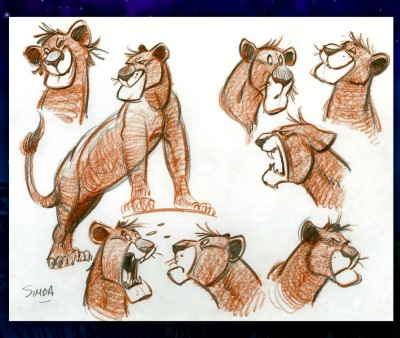 Conceptual designs for Simba appear in the Blu-ray's art gallery.
