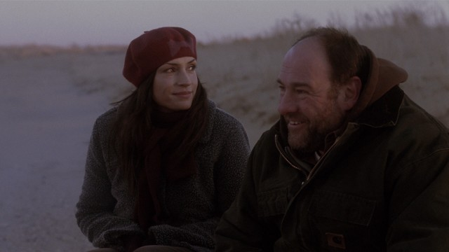 "Winter or not, friends, neighbors, and former flames Mary Reed (Famke Janssen) and Bailey Euler (James Gandolfini) enjoy being ""Down the Shore."""