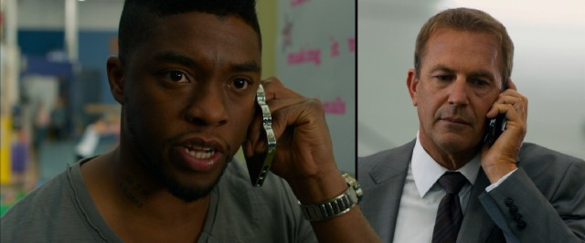 """Draft Day"" spices up phone call scenes like this chat between Vontae Mack (Chadwick Boseman) and Sonny Weaver Jr. (Kevin Costner) with uneven split-screens that characters are able to burst through."
