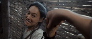 An irate woman (Wai Ying Hung, a.k.a. Kara Hui) comes after Jin-xi in a lively farm fight.