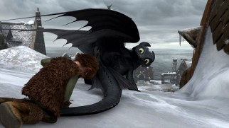 "Hiccup fits Toothless with a new prosthesis meant to help him fly again in ""Gift of the Night Fury."""