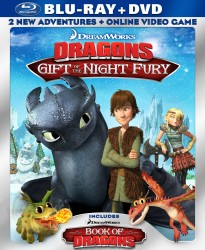 DreamWorks' Dragons: Gift of the Night Fury & Book of Dragons Blu-ray + DVD cover art