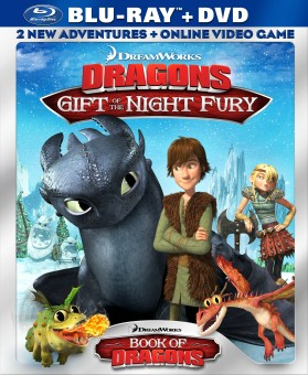 DreamWorks Dragons: Gift of the Night Fury & Book of Dragons: Blu-ray + DVD + Online Video Game combo pack cover art -- click to buy from Amazon.com