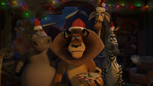 "The Madagascar gang (Gloria, Alex, Melman, and Marty) fill in for Santa Claus in ""Merry Madagascar."""