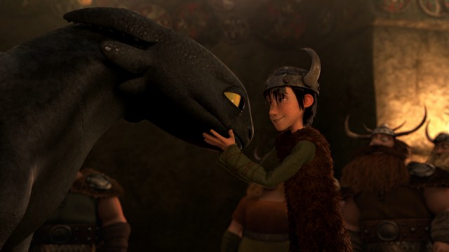 Toothless the dragon and Hiccup the Viking reunite for a heartwarming Snoggletog.